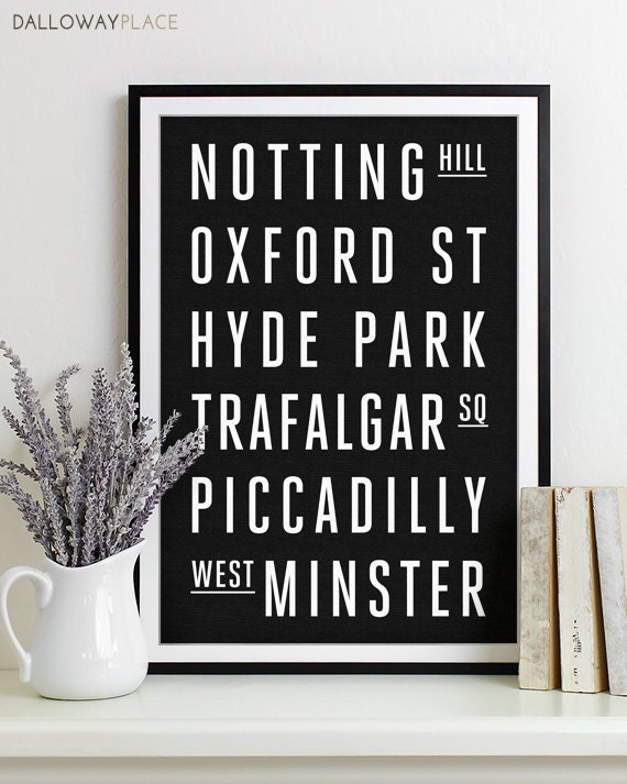 Wall Art Subway Sign Typography Poster   Modern Art Print LONDON City