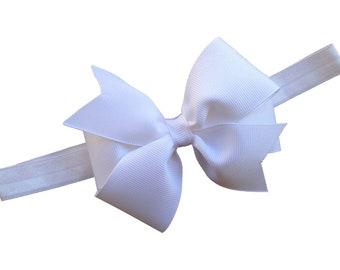 White bow headband - baby headband, white baby bow headband, newborn headband, toddler headband, baby bow headband, white headband