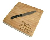 "Cutting Board With Quote - End Grain Maple 14""x14""x2"" with Feet"