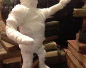 Mummy art doll for Halloween, handmade pose-able chubby mummy one of a kind doll Halloween or movie display