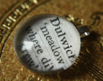 Dulwich 'meadow where dill grew' - Place name meaning - Hallmarked 925 Sterling Silver pendant