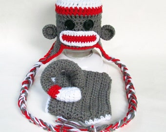 Sock Monkey Hat and Diaper Cover Set With Detachable Tail, perfect photo prop, costume or bay shower gift!