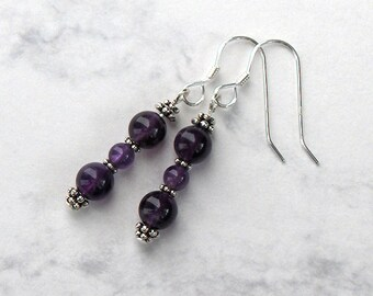 Amethyst Bead Dangle Earrings Pewter Bead Accents, Sterling Silver Earwires - Metaphysical Psychic and Healing