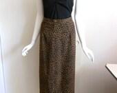 Vintage Flowing Animal Print Maxi Skirt / Leopard Print High Waist Long Skirt size 4 / Fall Skirt