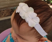 White hydrangea Headband, Baby Headband, Newborn Headband, Toddler Headband, Infant Headband, Photo Prop