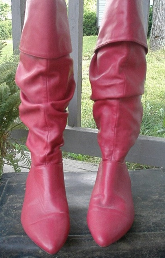 ON SALE-Bright Red, Faux Leather Boots, Size 8