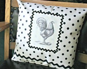 Victorian Rooster Decorative Pillow--Black and White Polka Dot and Rick Rack, Handmade