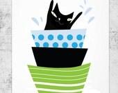 Black cat swims in a bowl / cat print / - cat art -print by nicemiceforyou