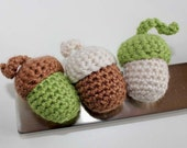 Handmade Crochet Set of 3 Acorn Magnets. Fiber/Fibre Art.