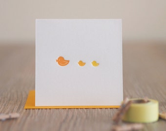 Baby Duck - Letterpress Baby Announcement Mini Card