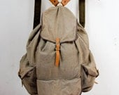 Vintage army military canvas backpack dusty leather