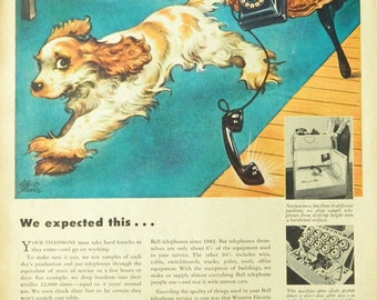 Vintage 1948 Western Electric Telephone Dog Ad - phone and spaniel print Wall Art