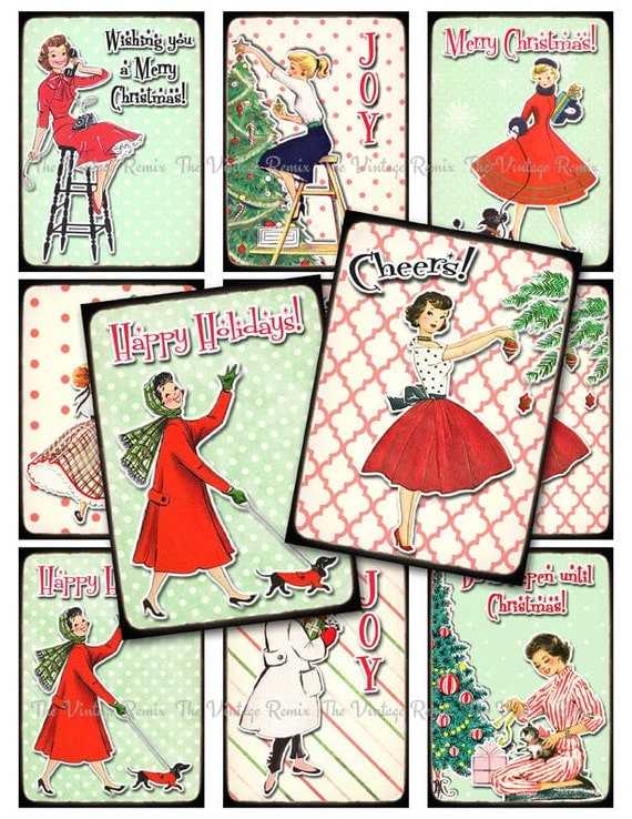 INSTANT DOWNLOAD, Digital Collage Sheet, Retro Christmas Tags, Printable Labels, Holiday, Vintage Pin Up, Housewife Girls, atc aceo