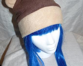 Brown Bear Fleece Hat - Light and Dark Brown