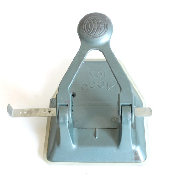 Vintage ACCO two-hole paper punch - blue-green metal