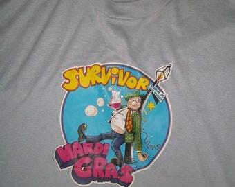 Mardi Gras Bourbon St New Orleans Survivor Light Blue T Shirt XL 46 Made in USA