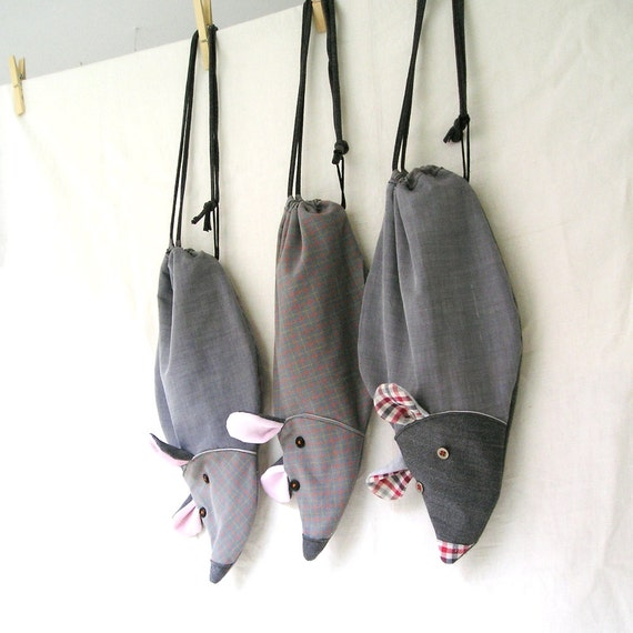 Halloween Trick or Treat bag - Rats - Upcycled fabrics