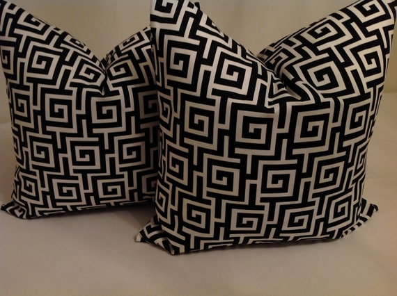 Black And Ivory Throw Pillows : OUTDOOR Black Pillows Pillows Throw Pillows by NAOMIFRANCIS