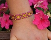 Adjustable Friendship Bracelet -Macrame- Purple, Pink, Green, Yellow