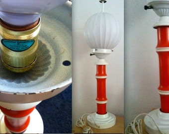 MID CENTURY Eames George Nelson bubble inspired globe lamp reddish orange white base RARE Walt Disney Studios prop