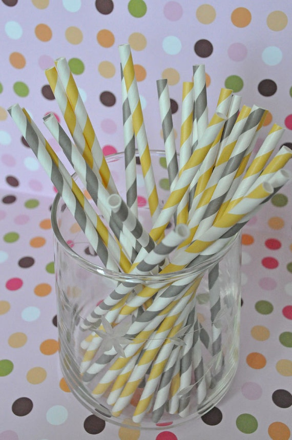Paper Straws - Gray and Yellow Striped Party Straws and Coordinating DIY Straw Flag PDF