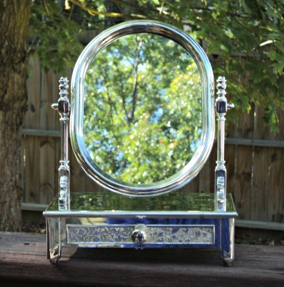 Vintage silver plate vanity or shaving mirror with drawer