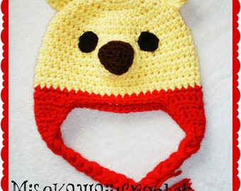 Crochet Pattern-Kawaii-Pooh Hat-Crochet Bear Hat-Winnie the Pooh Inspired-Pooh Themed Nursery-Yellow Hat-Instant Download