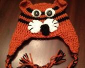 Crochet Tiger Earflap Hat, Animal Baby Hat, Tiger Boy/Girl Earflap Hat