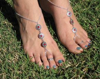 Silver and Multicolored Barefoot Sandals, slave anklet, foot thong, ankle bracelet with toe ring