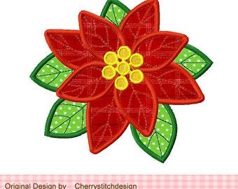 Christmas Poinsettia Machine Embroidery Applique Design -4x4 5x5 6x6 inch