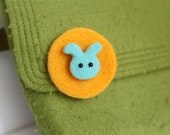 Needle Felted Brooch Baby Rabbit in Blue Kids Gift