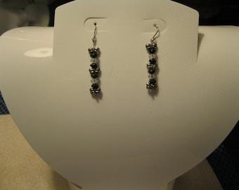 BUTTERFLIES and BLACK BEADS Dangle Pierced Earrings - Handmade, One of A Kind