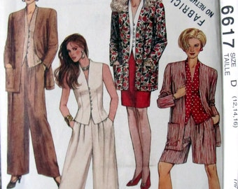 McCalls 6617, Ladies Unlined Jacket, Top, Skirt, Pants and Shorts Sewing Pattern, Sizes 12 to 16, Petitable