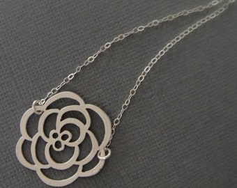 Clearance Sale--Rose Necklace in STERLING SILVER CHAIN--Flower Necklace-Perfect Gift for mom for best friends, Birthday Present for her