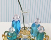 10Pc Vanity Tray w/Crystal and Blue India Glass perfume Bottles,vase &Earrings