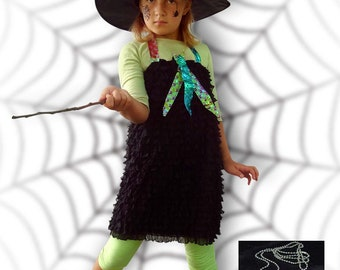 Fancy dress, Costume, Witch, Halloween, Carnival, Girl, Birthday, christmas, sizes  122 to 134, ages 7 and 10
