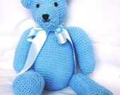 Blue teddy bear - retro style  -  made in England - child's toy - christening/birthday/wedding  gift