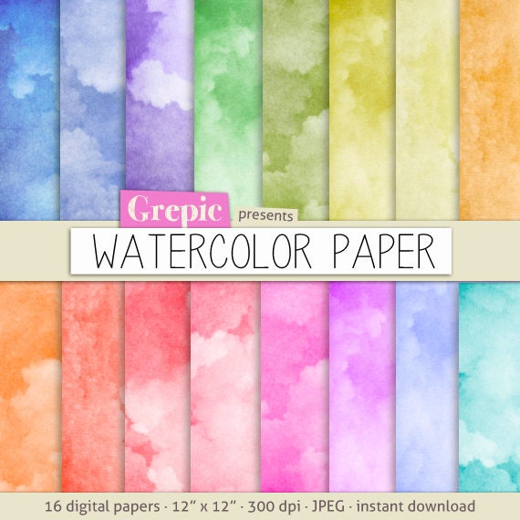 Watercolor Digital Paper Watercolor Paper With