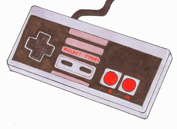 Nintendo Controller Art Print Hand Drawing Retro 80s Gamer Nes