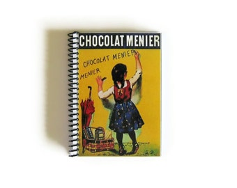 Chocolate Notebook, Blank Recipe Book, 4x6 Inches, Spiral Bound Journal, Pocket, Writing, Sketchbook, Back to School, Cute, Gifts Under 20