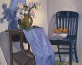 """Sale! Fine Art oil painting """"Studio Interior with Apples"""" original by Sarah Sedwick 16x20in"""