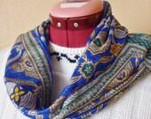 vintage OSCAR de la RENTA floral blue silk scarf