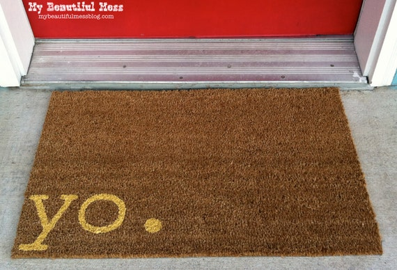 Witty Hand Painted Coir Welcome Mat - yo. - Choose Your Color