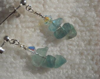 PUDDLE JUMPER Earrings With Fluorite Semi-Precious Gemstone Chips & Swarovski Crystals On Sterling Silver Posts