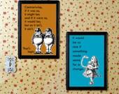 SALE Alice in Wonderland | Children |  Nursery Art Print Set | A6 4x6 | Alice and Flamingo | Tweedledum and Tweedledee Orange Blue Turquoise