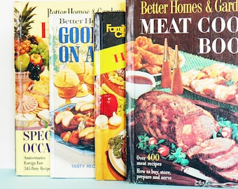 Vintage Mid Century Cookbook Set / Instant Collection of Mod Cookbooks  / Full Color Food Photography / Retro Cookbook Set