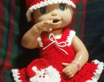 Clothes For Baby Alive 16/17 Inch  Doll and Similar size Dolls. Santa Claus Dress Set
