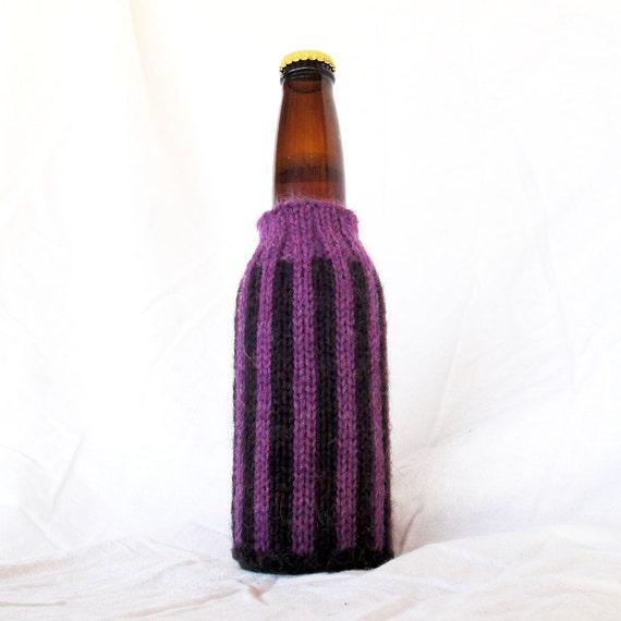 Striped Hand Knit Beer Coozie - Dark Chocolate Brown & Deep Amethyst Purple