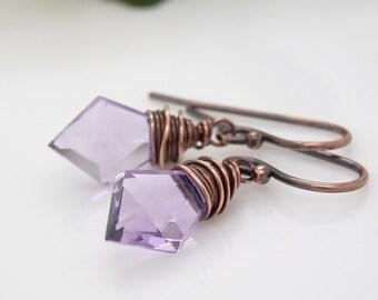 Light purple amethyst earrings, copper earrings with purple gemstones, wire wrapped copper jewelry, handmade amethyst gemstone earrings