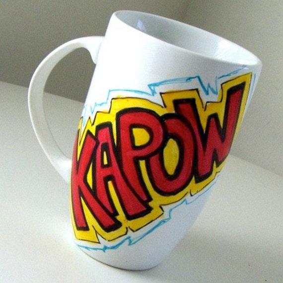 Ceramic Mug with handle Latte Mug Comic Book Super Heros Sound Fx Yellow Red Turquoise White 20 oz - MADE TO ORDER